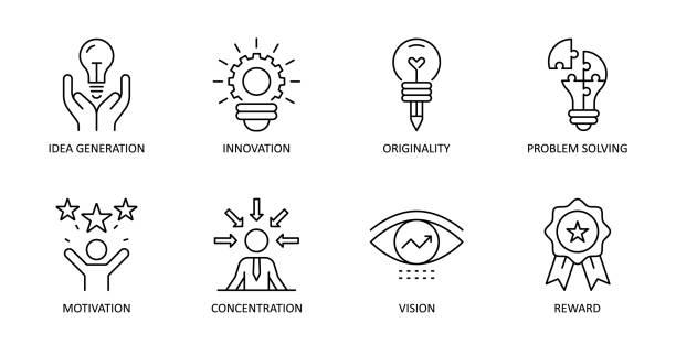 vektor-kreativität-symbole. bearbeitbarer strich. ideengenerierung, konzentration, problemlösung, motivation, belohnung, vision, originalität, innovation. - innovation stock-grafiken, -clipart, -cartoons und -symbole