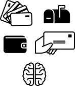 Credit card and business related vector icon set.