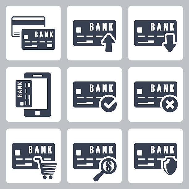 ilustraciones, imágenes clip art, dibujos animados e iconos de stock de vector conjunto de iconos de la tarjeta de crédito - gerente de cuentas