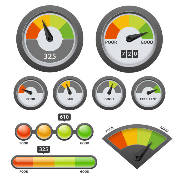 vector credit score gauge icon set - credit score stock illustrations, clip art, cartoons, & icons