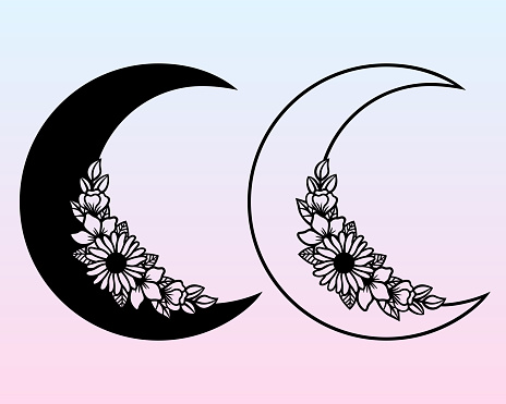 Vector crescent with flowers. Decorative illustration in flat style.
