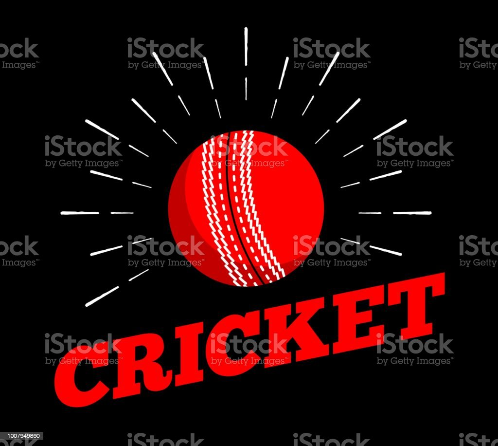 cricket ball logo icon hand drawn sun burst