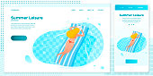 Vector cross platform illustration set, browser and mobile phone - sporty girl floating on inflatable mattress in the pool. Banner, site, poster template with place for your text.