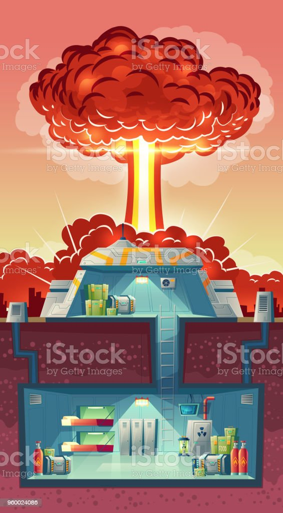 Vector cross section of nuclear shelter, explosion vector art illustration