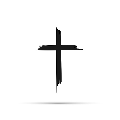 Vector cross silhouette with blood and shadow