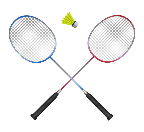 Vector crossed badminton rackets with shuttlecock vector art illustration