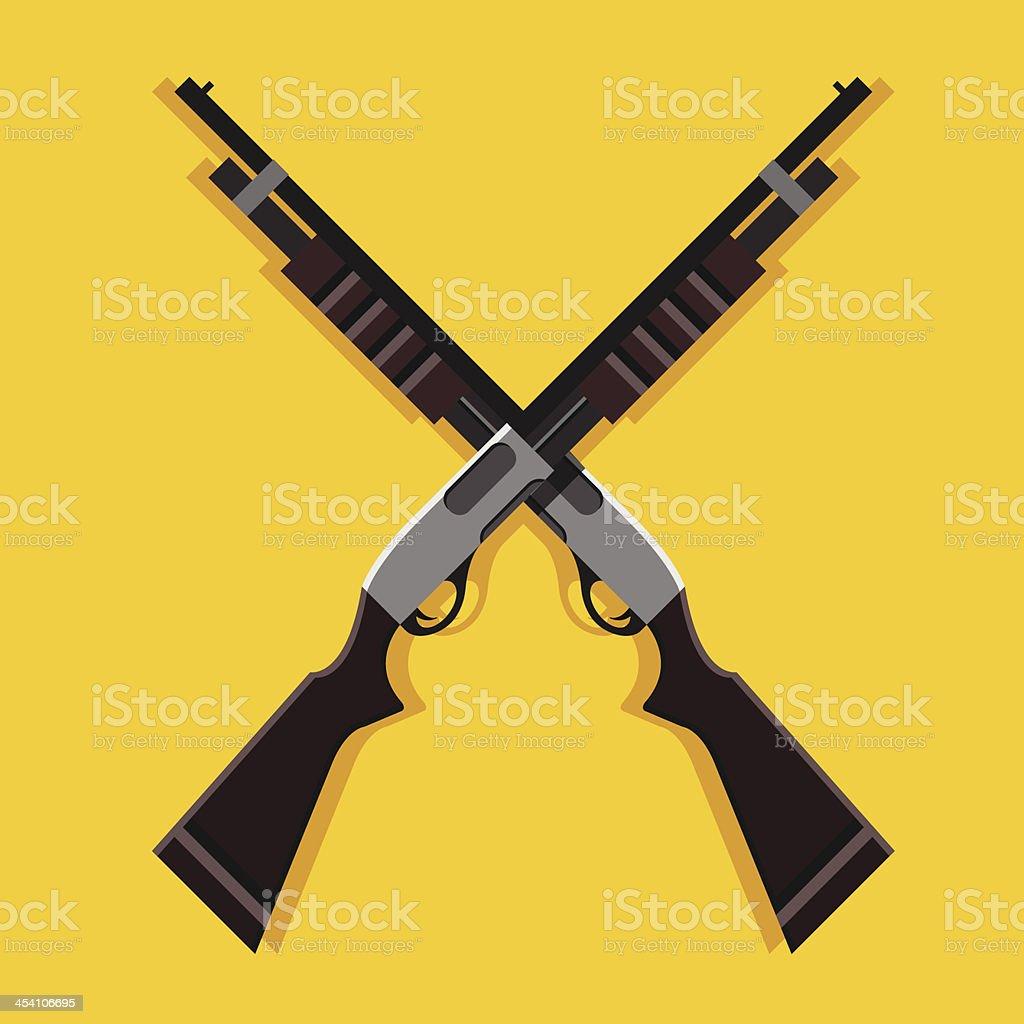 Vector Crossed Pump Action Shotguns Icon vector art illustration