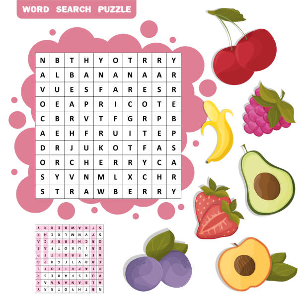 Vector Crossword Education Game For Children About Fruits Word Search Puzzle Art Illustration