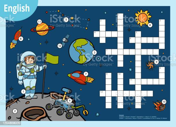 Vector Crossword In English Education Game For Children About Space Cartoon Astronaut And Cosmic Objects Stock Illustration Download Image Now Istock