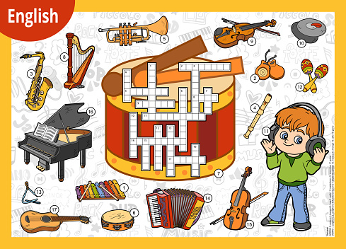 Vector crossword in English, education game for children. Cartoon boy in headphones and set of musical instruments