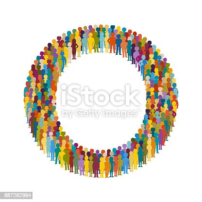 Vector crowd of people in form of capital letter O flat style