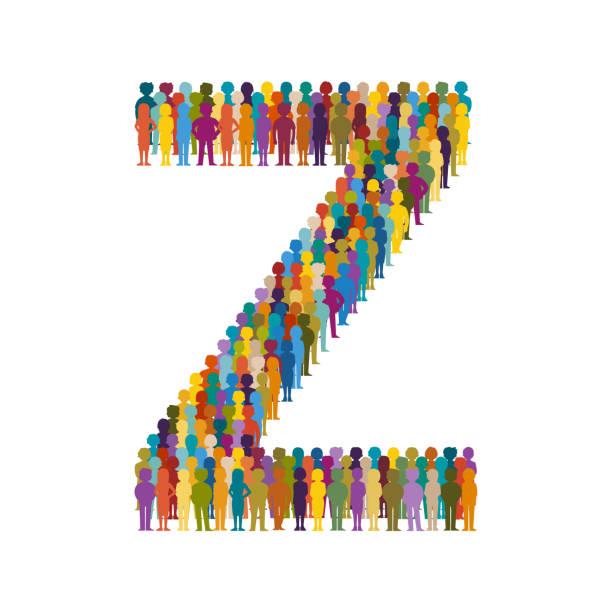 2566c9620 Multidão de vetor de pessoas em forma de letra maiuscula Z estilo simples -  ilustração de