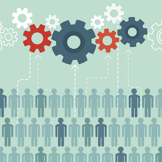 Vector crowdsourcing concept in flat style Vector crowdsourcing concept in flat style - abstract group of people participating in generating content contributor stock illustrations
