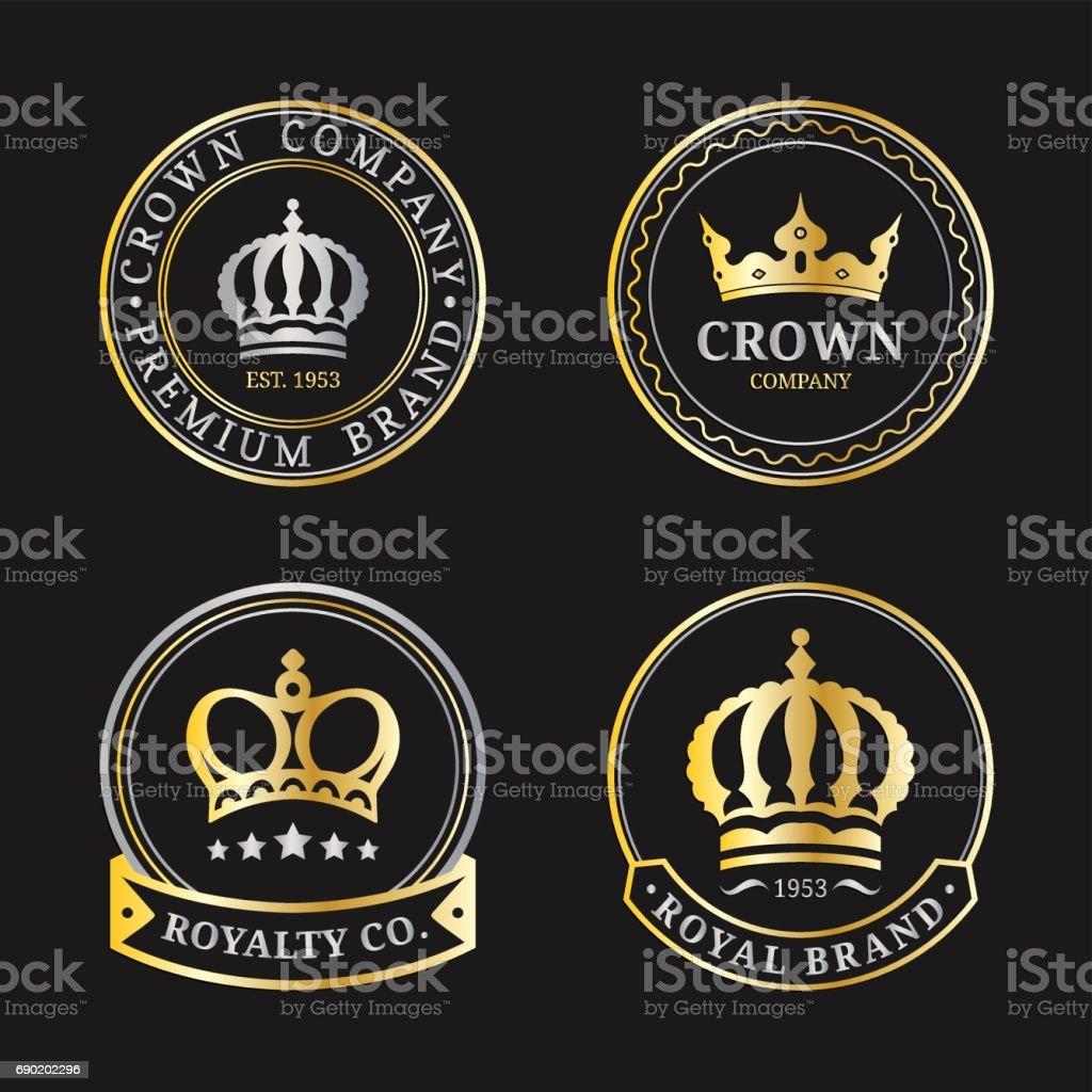 vector crown icons set luxury corona monograms design diadem icons