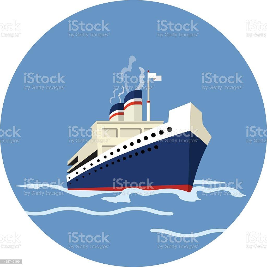 Vector Cruise Ship - flat icon vector art illustration