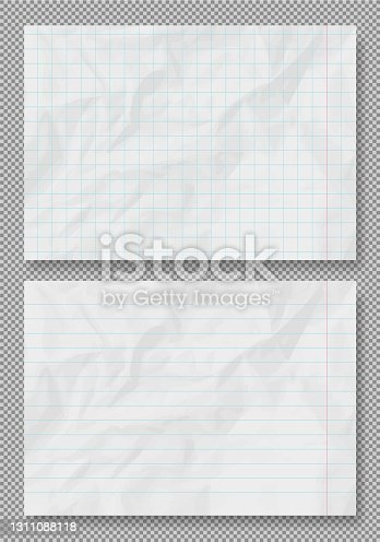 istock Vector crumpled grunge realistic lined old paper texture 1311088118