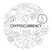 Vector cryptocurrency pattern with word. Cryptocurrency background