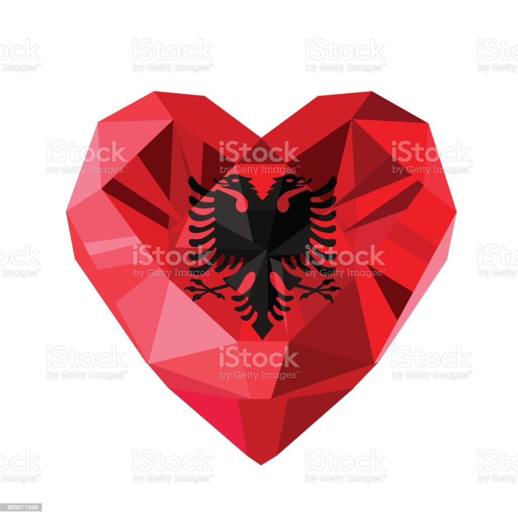 Vector crystal gem jewelry Albanian heart with the flag of Albania. royalty-free vector crystal gem jewelry albanian heart with the flag of albania stock vector art & more images of albania