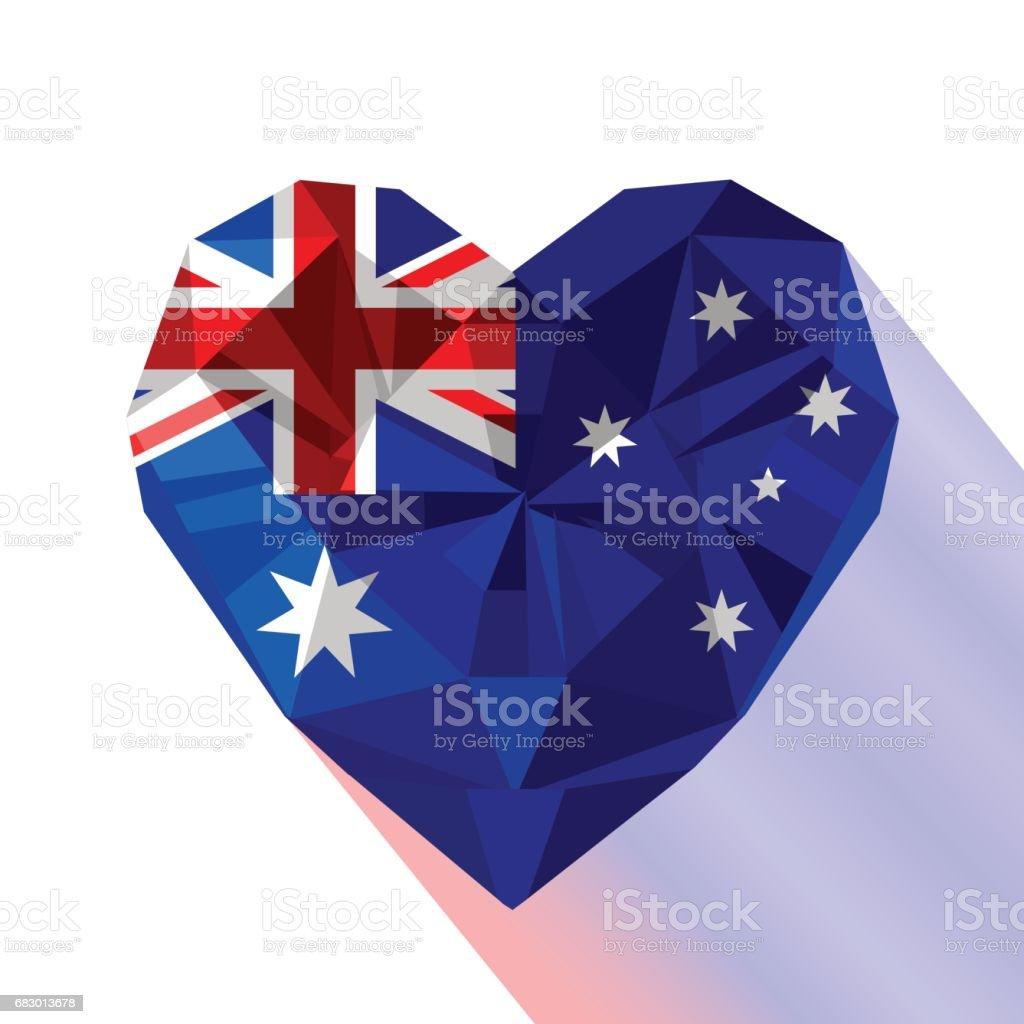 Vector crystal gem jewelry Australian heart with the Commonwealth of Australia vector crystal gem jewelry australian heart with the commonwealth of australia - arte vetorial de stock e mais imagens de adelaide royalty-free