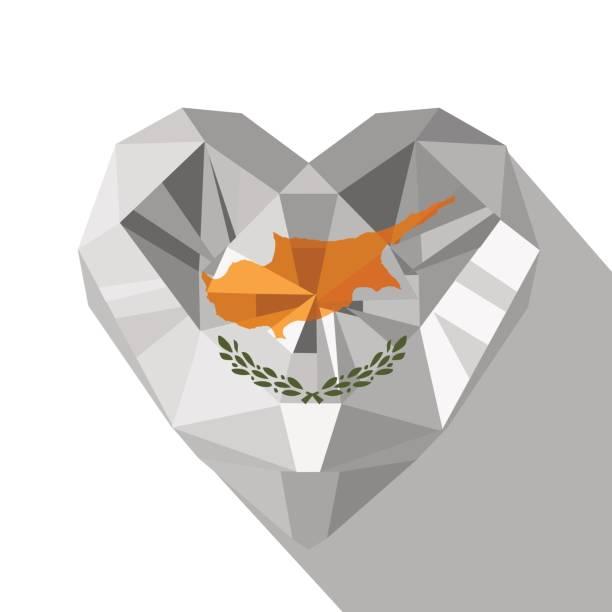 vektor kristall edelstein schmuck zypriotischen herz mit der flagge der republik zypern - paphos stock-grafiken, -clipart, -cartoons und -symbole