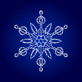 Vector crystal snowflake on dark blue background