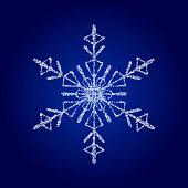 Vector crystal snowflake on dark blue background