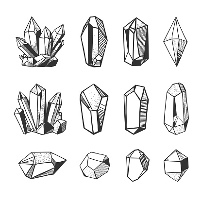 vector crystals and minerals, black and white illustration