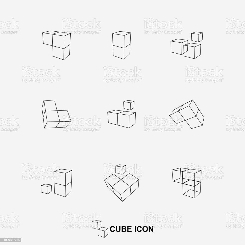 Collection d'icônes vectorielles cube - Illustration vectorielle