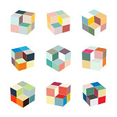Vector cube model pattern symbol for design