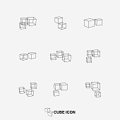 Vector cube symbol collection