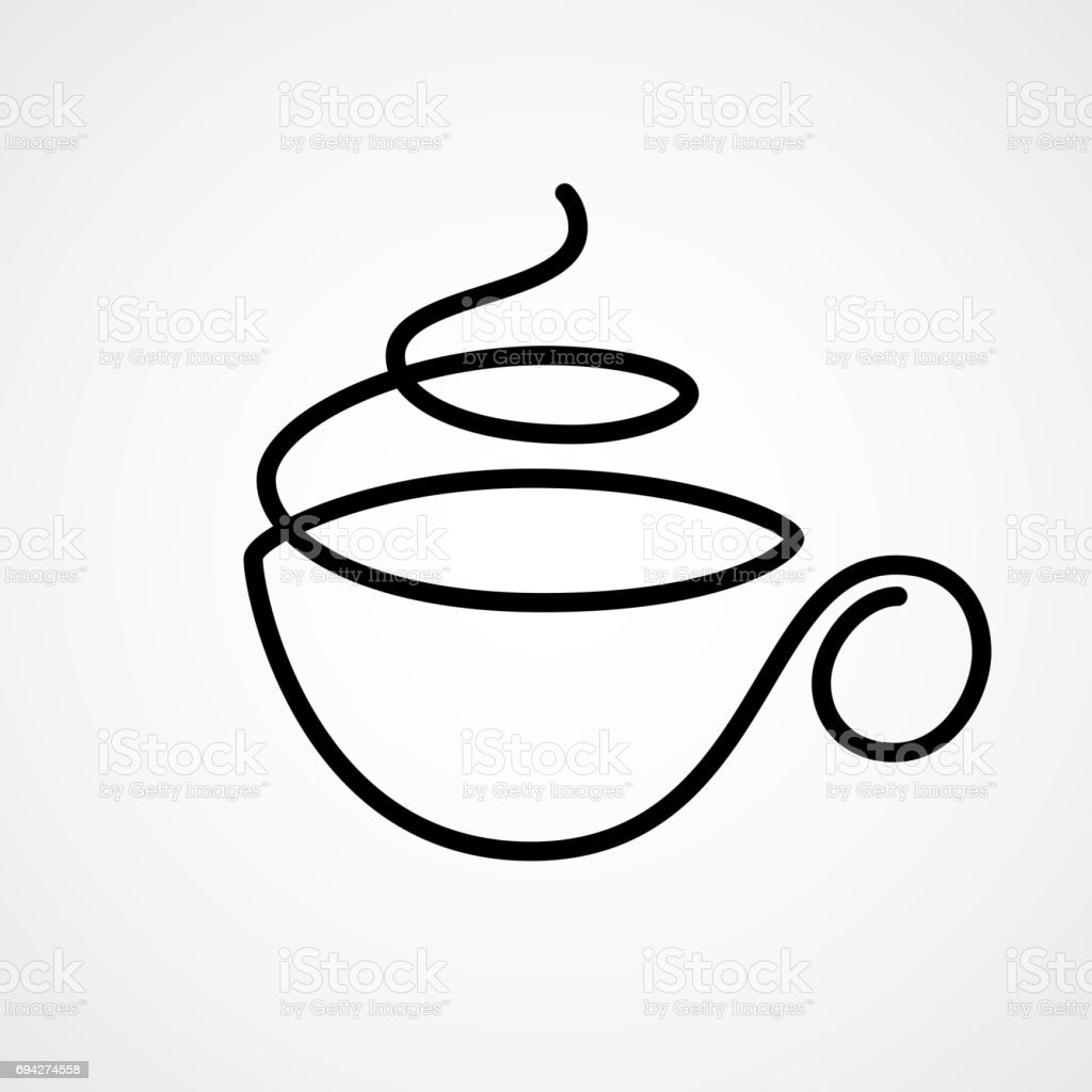 Vector cup of tea or coffee drawn by single continuous line vector art illustration