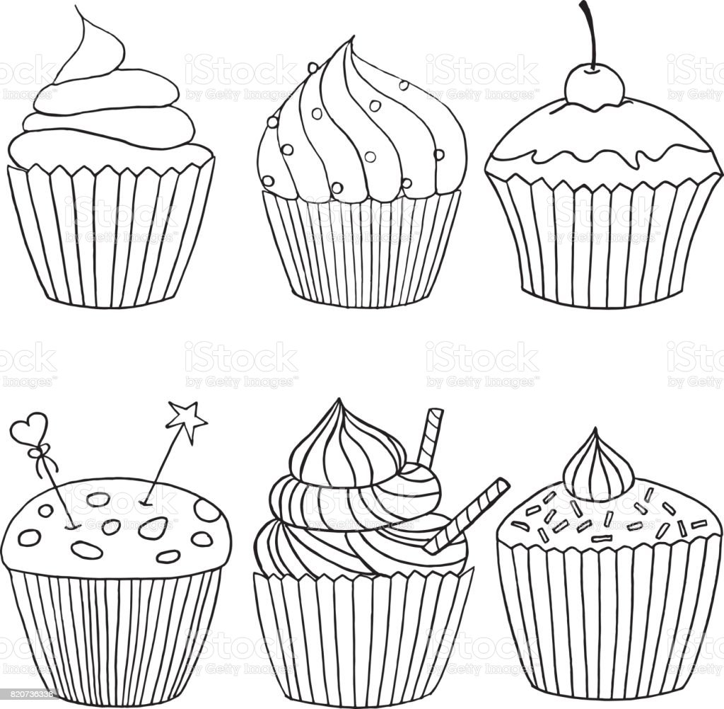Vector cupcake illustration. Set of hand drawn cupcakes. Doodle cakes with cream and berries. vector art illustration