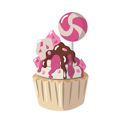 Vector cupcake poured with chocolate, pink syrup, with chocolate bars, pink lollipop and beads on a white background is isolated. The cake can be used for postcards, T-shirt design, invitations, menus
