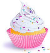 Pink vector cupcake with sprinkles illustration