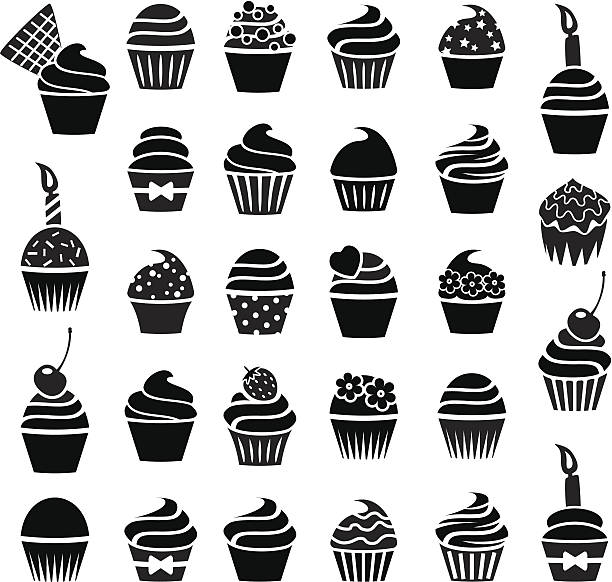 vector cupcakes icons vector black and white cupcakes icons cupcake stock illustrations