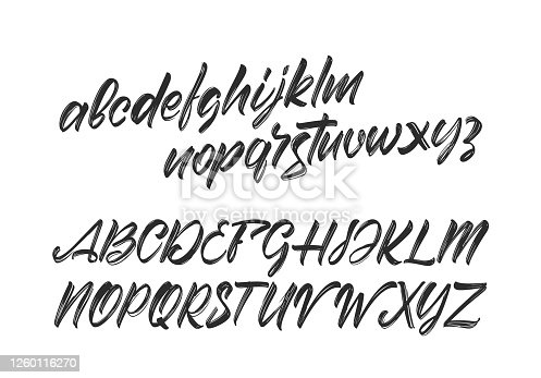 Vector illustration: Cursive Handwritten brush font. English Abc alphabet on white background.
