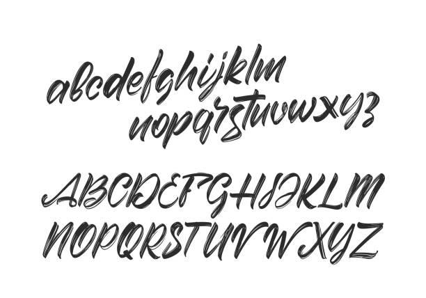 ilustraciones, imágenes clip art, dibujos animados e iconos de stock de vector cursive handwritten brush fuente. alfabeto abc inglés sobre fondo blanco. - font