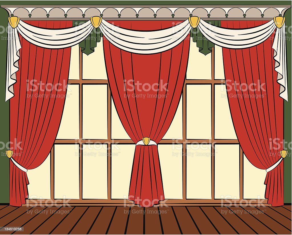 Vector curtain in vintage interior royalty-free vector curtain in vintage interior stock vector art & more images of apartment