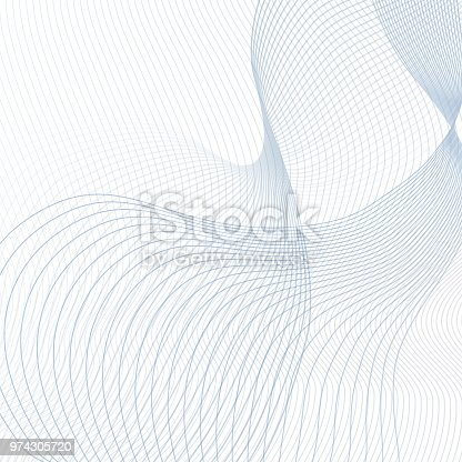 Vector curved crisscross lines on white background. Abstract squiggly waveforms with text place. Contemporary template in light blue and gray tones. Waving line art design for scientific concept. Futuristic wave pattern. EPS10 illustration