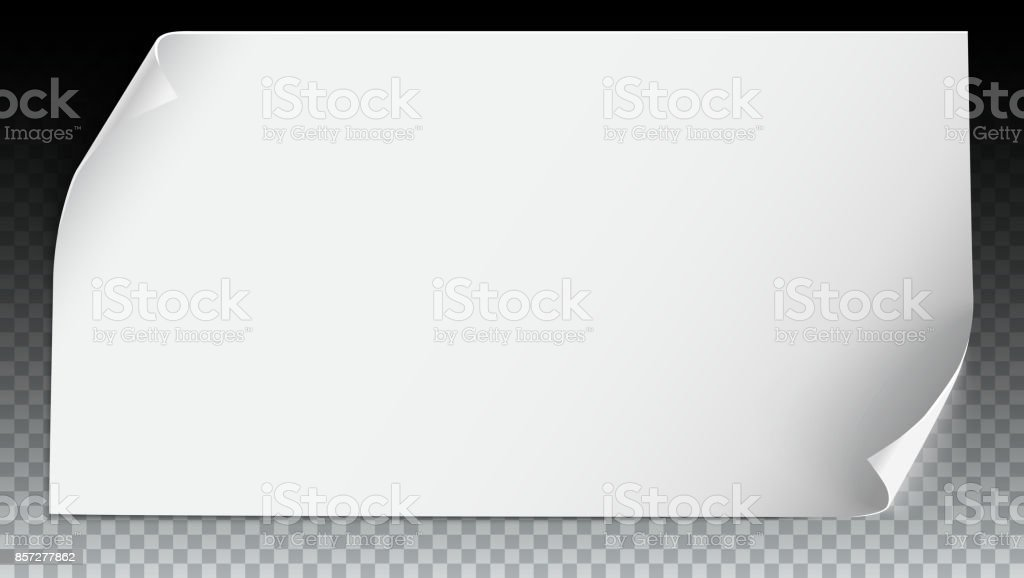 Vector Curved Paper Banner On Transparent Background White Blank Horizontal