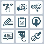 Vector customer service and testimonials related icon set