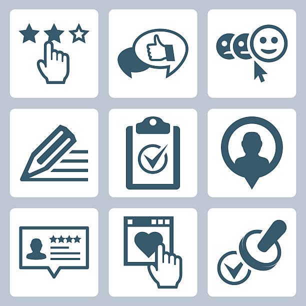 illustrations, cliparts, dessins animés et icônes de vecteur de service clientèle et les témoignages ensemble d'icônes connexes - relation client