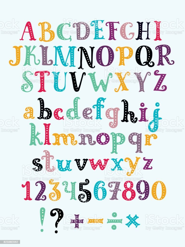 Vector cute alphabet colorful sticker alphabet with number and plus, minus, division, multiplication, quotation marks, equals vector art illustration