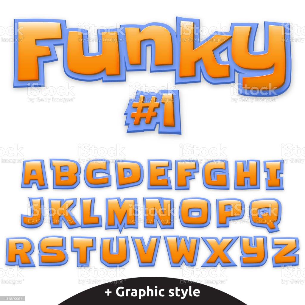 Vector cute alphabet for children in cartoon style. Uppercase