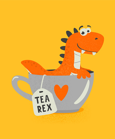 Vector Cute and Funny Textured Cartoon Dinosaur in Tea Cup. Mug with Hot Tea Beverage and Tea Rex. Hand Drawn Tyrannosaur Rex, Tyrannosaurus Rex, T-rex. Kids, Children s Illustration, Print