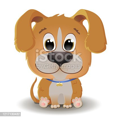 Vector cute beige red dog with big eyes in cartoon style. Little beagle sits and smiles. Flat character illustration isolated on white background