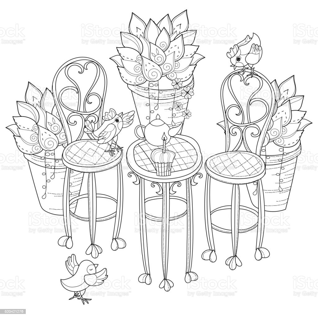 Vector cute birthday  tea time in flowers . vector art illustration