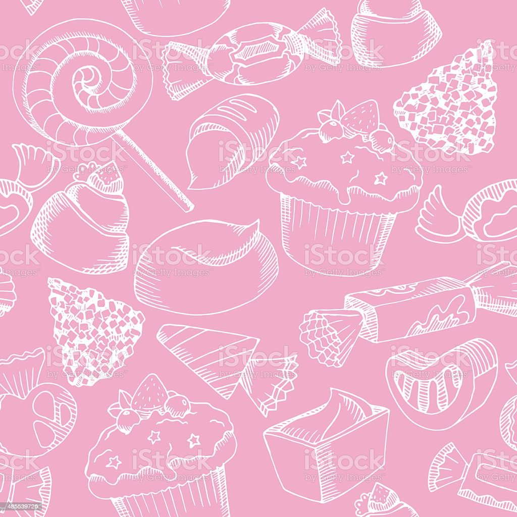 vector cute candy pattern white graphic candy on pink