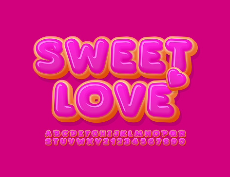 Vector cute card Sweet Love. Tasty Donut Alphabet Letters and Numbers set