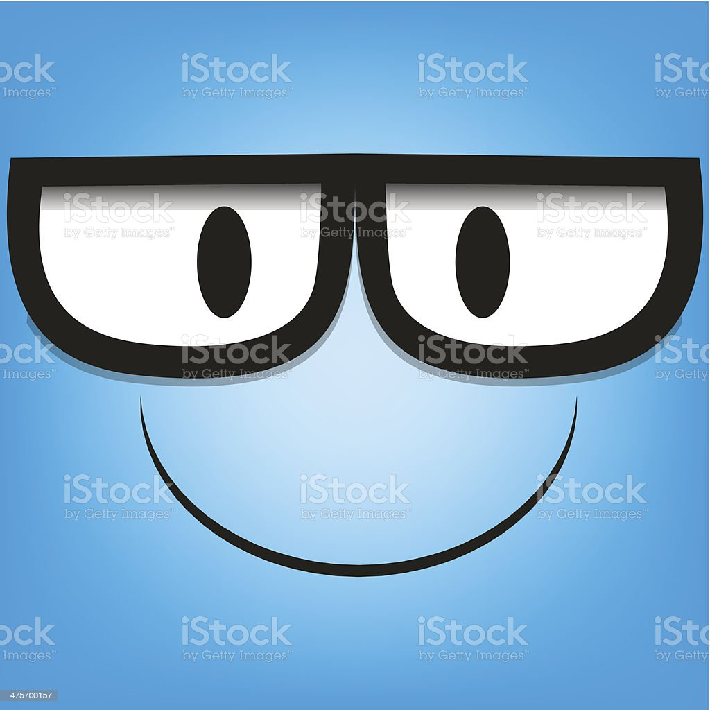 Vector Cute Cartoon Blue Face With Glasses royalty-free stock vector art